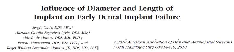 influencia do diametro e comprimento na falha dos implantes dentais