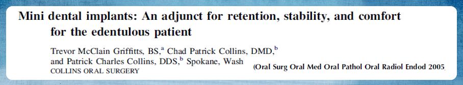 Mini implantes dentários: Um adjunto para retenção, estabilidade e conforto para o paciente