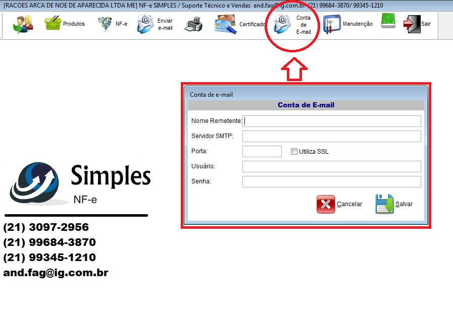 Configurando conta de e-mail